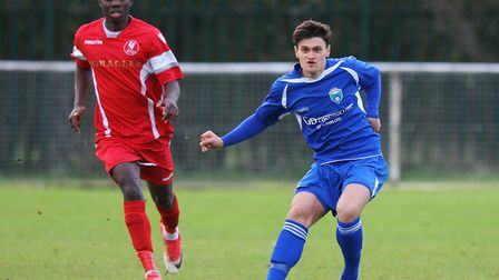 Joe Price went close for London Colney against Holmer Green. Picture: Karyn Haddon
