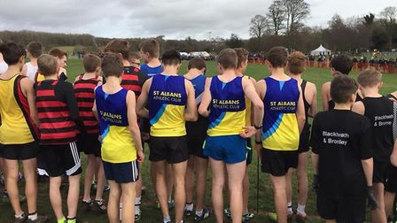 St Albans Athletics Club's boys prepare for the start of the Southern Cross Country Championship.