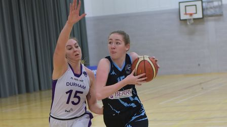 Ciara Belsham drives for the hoop for Oaklands Wolves against Durham Palatinates in the WBBL. Pictur