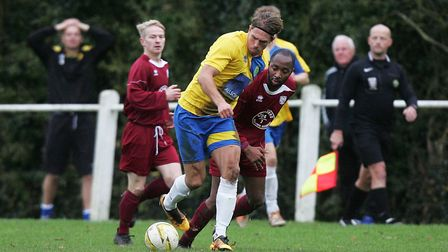 James Yates scored the first goal for Harpenden Town against Leverstock Green.Picture: Karyn Hadd
