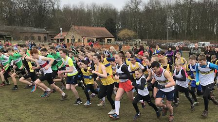 The start of the junior Frostbite Friendly League race at Hinchingbrooke Country Park. Picture: ESTH