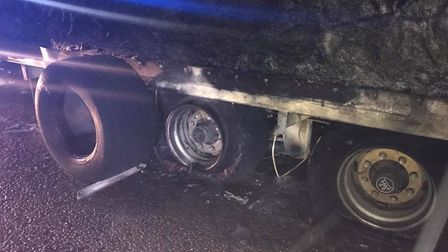 Damage to the wheels of a lorry which caught fire at Godmanchester