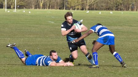 Dan Court on the charge for St Neots against Aylestone St James. Picture: J BIGGS PHOTOGRAPHY