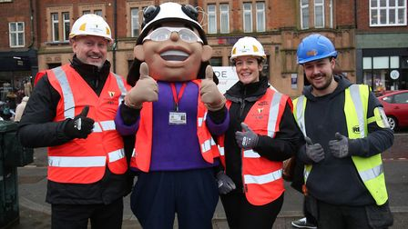 Team Willmott Dixon at the St Albans pancake race 2018. Picture: Danny Loo
