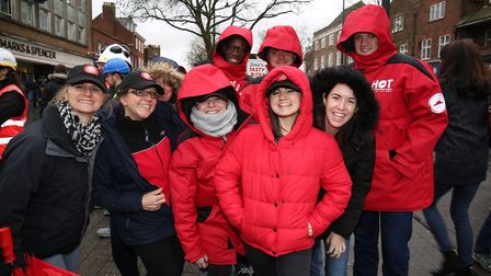 Team Pizza Hut at the St Albans pancake race 2018. Picture: Danny Loo