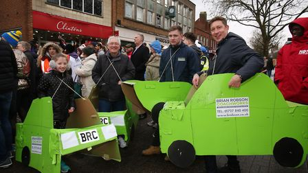 Team Brian Robson Coachworks at the St Albans pancake race 2018. Picture: Danny Loo
