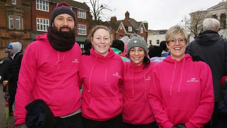 Team Oaklands College at the St Albans pancake race 2018. Picture: Danny Loo
