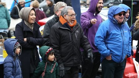 Mayor of St Albans Cllr Iqbal Zia watches the St Albans pancake race 2018. Picture: Danny Loo