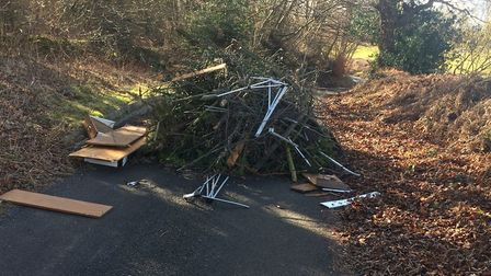The fly-tipping on Furzebush Lane.