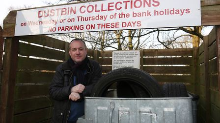 Eskdale resident Gordon Jackson is tired of people fly tipping in the resident's communal bin. Pictu