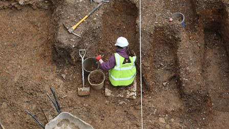 An aerial view of the St Albans Abbey archaeological dig. Picture: Danny Loo