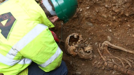 The Canterbury Archaeological Trust team work on the St Albans Abbey dig. Picture: Danny Loo