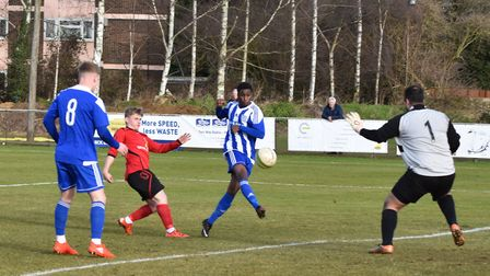 Luis Vieira impressed during his Eynesbury Rovers' debut against Sileby Rangers. Picture: J BIGGS PH