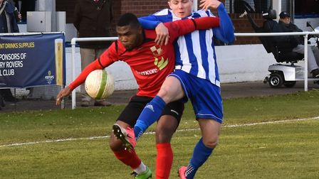 Eynesbury Rovers' ace Jordan Brown battles for the ball against a Sileby Rangers opponent. Picture: