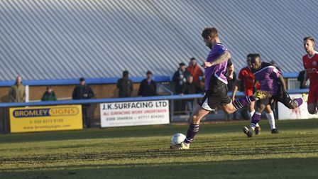 David Noble scores St Albans City's goal from the penalty spot. Picture: BOB WALKLEY
