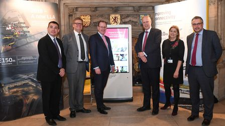 Left to right: Gavin Shuker, MP for Luton South, LLA chairman Clive Condie, LLA CEO Nick Barton, Tra