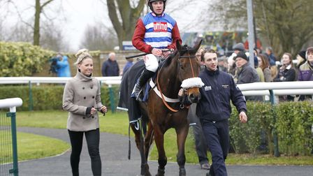 Keepers Hill and jockey Gavin Sheehan return to the winner's enclosure after success in the Sidney B