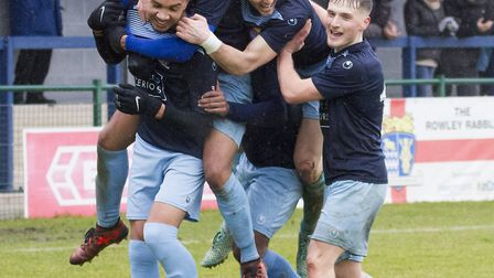 St Neots Town players celebrate during their victory against Chesham. Picture: CLAIRE HOWES