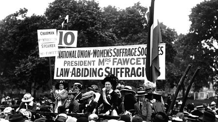 Millicent Fawcett, who founded the National Union of Women's Suffrage, speaks at the Suffragette Pil