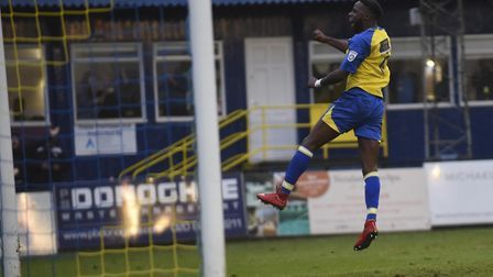 Rhys Murrell-Williamson celebrates after scoring St Albans City's fourth against Dartford. Picture: