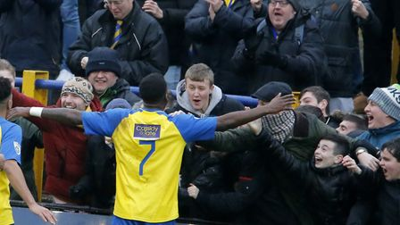 Rhys Murrell-Williamson celebrates with the Saints fans. Picture: LEIGH PAGE