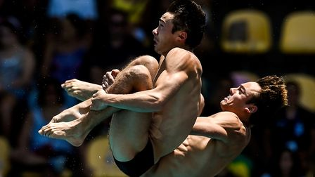 Tom Daley and Dan Goodfellow in diving action