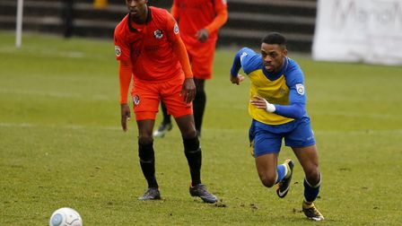 Kieran Monlouis in action for St Albans City against Dartford. Picture: LEIGH PAGE