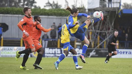 Tom Bender's speculative overhead kick causes problems in the Dartford defence. Picture: BOB WALKLEY