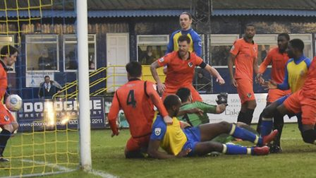 Dartford scramble one off the line as St Albans press for a fifth. Picture: BOB WALKLEY