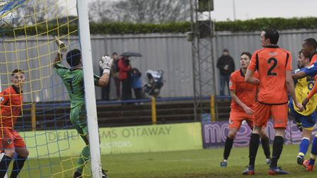 Sam Merson heads a sixth goal in two games as St Albans City beat Dartford. Picture: BOB WALKLEY
