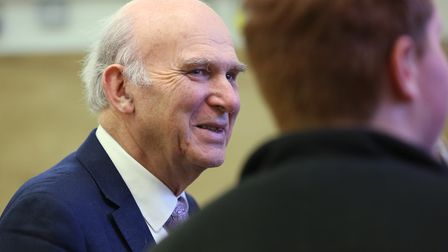 Leader of the Liberal Democrats Sir Vince Cable visits Oaklands college with St Albans Lib Dem candi