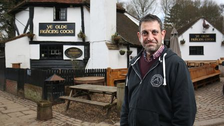 Ye Olde Fighting Cocks Landlord Christo Tofalli outside the pub which is in line for a £1 million re