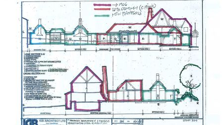 Side drawing of the extensions to Ye Olde Fighting Cocks.