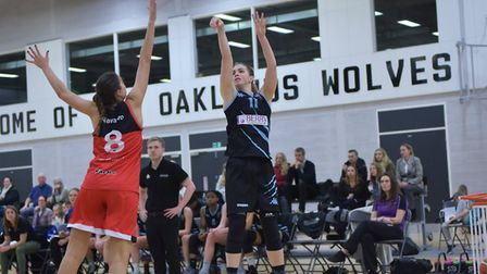 Lizzie Harrison shot a late three-pointer to take Oaklands Wolves into overtime at Cardiff. Picture: