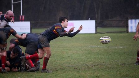 Tabard fly half releases the ball. Picture: Kevin Lines