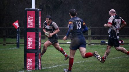 Harpenden go over for a try. Picture: Kevin Lines