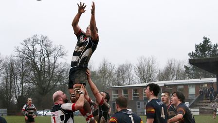 Harpenden claim a line out. Picture: Kevin Lines