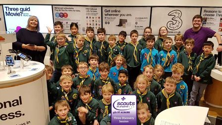 Fourth St Albans Scout Group Cubs and Beavers in the Three shop. Picture: Three