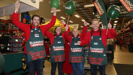 Bunnings staff at the opening of the new store in St Albans. Picture: Danny Loo