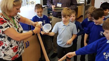 Youngsters got to grips with Mrs Hodge's digestive system roadshow. Picture: Greneway