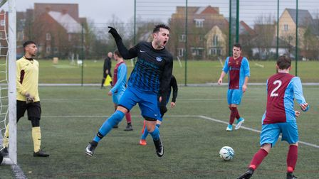 Jack Haycock celebrates during St Ives Rangers' semi-final drubbing of Eaton Socon Reserves. Picture