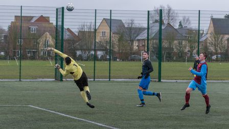 Action from St Ives Rangers' win against Eaton Socon Reserves in a Hunts Junior Cup semi-final. Pict