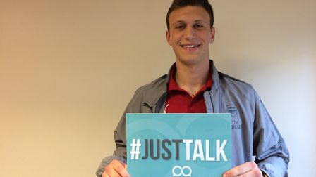 Arsenal centre-back Krystian Bielik pictured supporting the Just Talk campaign.