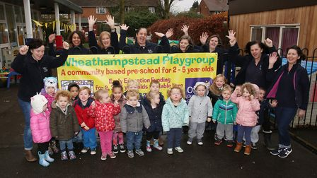Children and staff of Wheathampstead play group celebrate an outstanding ofsted report together with