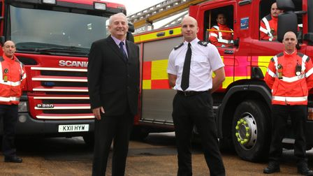 Fire Authority chairman Councillor Kevin Reynolds and assistant chief fire officer Rick Hylton