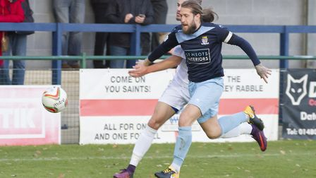 Captain Luke Knight was sent off in St Neots Town's defeat at Weymouth. Picture: CLAIRE HOWES