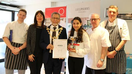 The Oaklands College Young Chef of the Year judges with winner Amanda Garcia-Ghuran and Mayor Mohamm