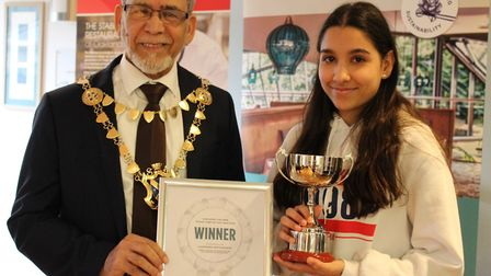 The Oaklands College Young Chef of the Year winner Amanda Garcia-Ghuran and Mayor Mohammad Iqbal Zia