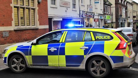 Royston High Street was blocked off today after concerns for a woman's welfare. Picture: Clive Porte