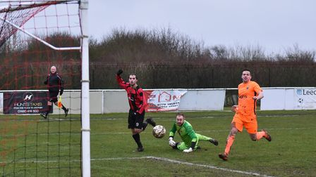 Connor Clarke levels for Huntingdon Town against Blackstones. Picture: J BIGGS PHOTOGRAPHY